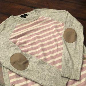 JCREW striped elbow patch sweater